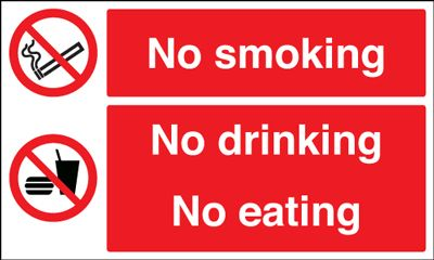 No Smoking No Drinking No Eating  Safety Sign - Landscape