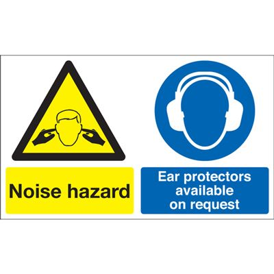 Noise Hazard Ear Protectors Available Safety Sign - Landscape