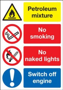 Petroleum Mixture / Switch Off Engine Multi Message Safety Sign