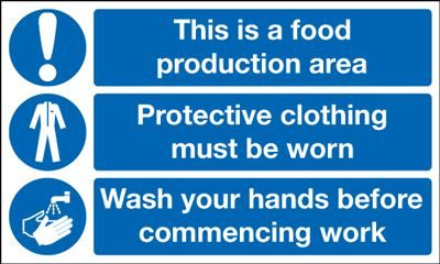 Food Production Area Wash Your Hands Multi Message Safety Sign