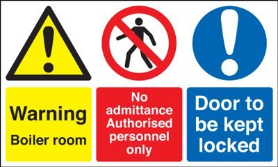 Warning Boiler Room Door To Be Kept Locked Safety Sign - Landscape