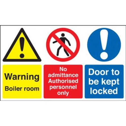 Warning Boiler Room Door To Be Kept Locked Safety Sign - Landscape