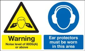 Warning Noise 80Db(A) Ear Protectors Safety Sign - Landscape