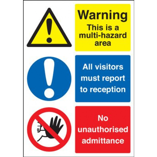 Warning This Is A Multi Hazard Area Safety Sign