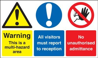 Warning This Is A Multi Hazard Area Safety Sign - Landscape