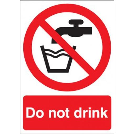 Do Not Drink & Tap Symbol Prohibition Safety Sign - Portrait