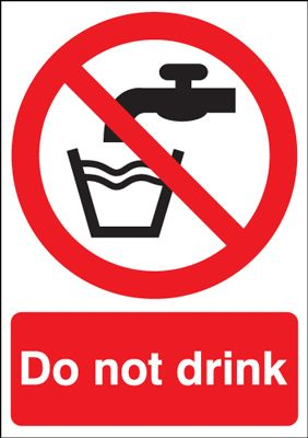 Do Not Drink & Tap Symbol Prohibition Safety Sign - Portrait