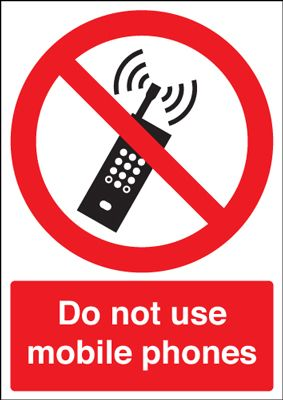 Do Not Use Mobile Phones Prohibition Safety Sign - Portrait