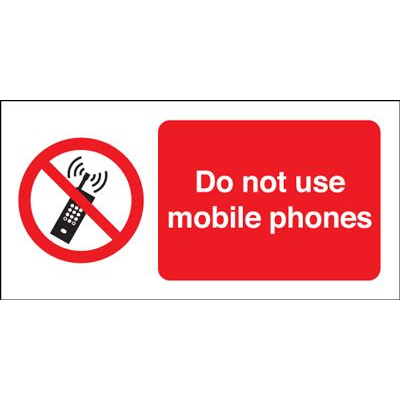 Do Not Use Mobile Phones Prohibition Safety Sign - Landscape
