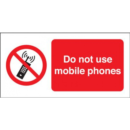 Do Not Use Mobile Phones Prohibition Safety Sign - Landscape