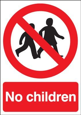 No Children Prohibition Safety Sign - Portrait