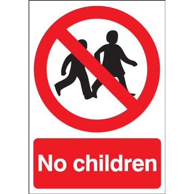 No Children Prohibition Safety Sign - Portrait