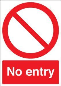 No Entry Circular & Diagonal Symbol Safety Sign - Portrait