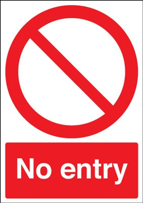 No Entry Circular & Diagonal Symbol Safety Sign - Portrait