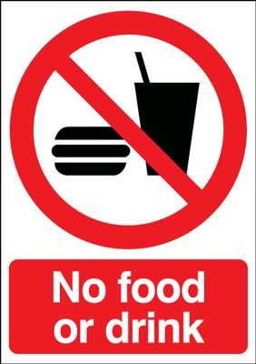 No Food Or Drink Prohibition Safety Sign - Portrait