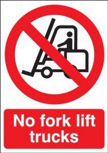 No Fork Lift Trucks Prohibition Safety Sign - Portrait