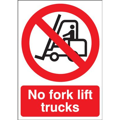 No Fork Lift Trucks Prohibition Safety Sign - Portrait