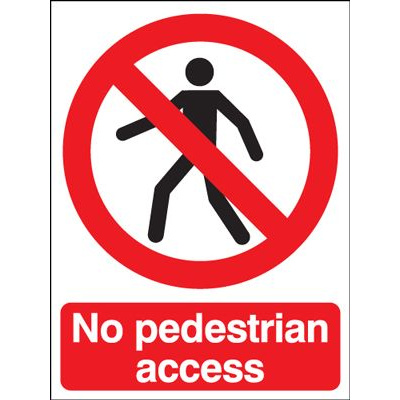 No Pedestrians Access Sign