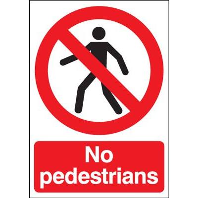 No Pedestrians Safety Sign - Portrait
