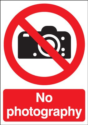 No Photography Safety Sign - Portrait