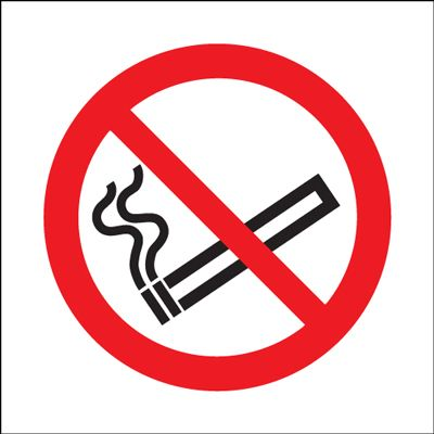 No Smoking Symbol Safety Sign - Square