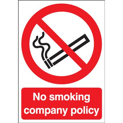 No Smoking Company Policy Safety Sign - Portrait
