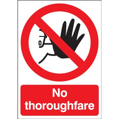 No Thoroughfare Safety Sign - Portrait
