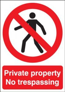 Private Property No Trespassing Safety Sign