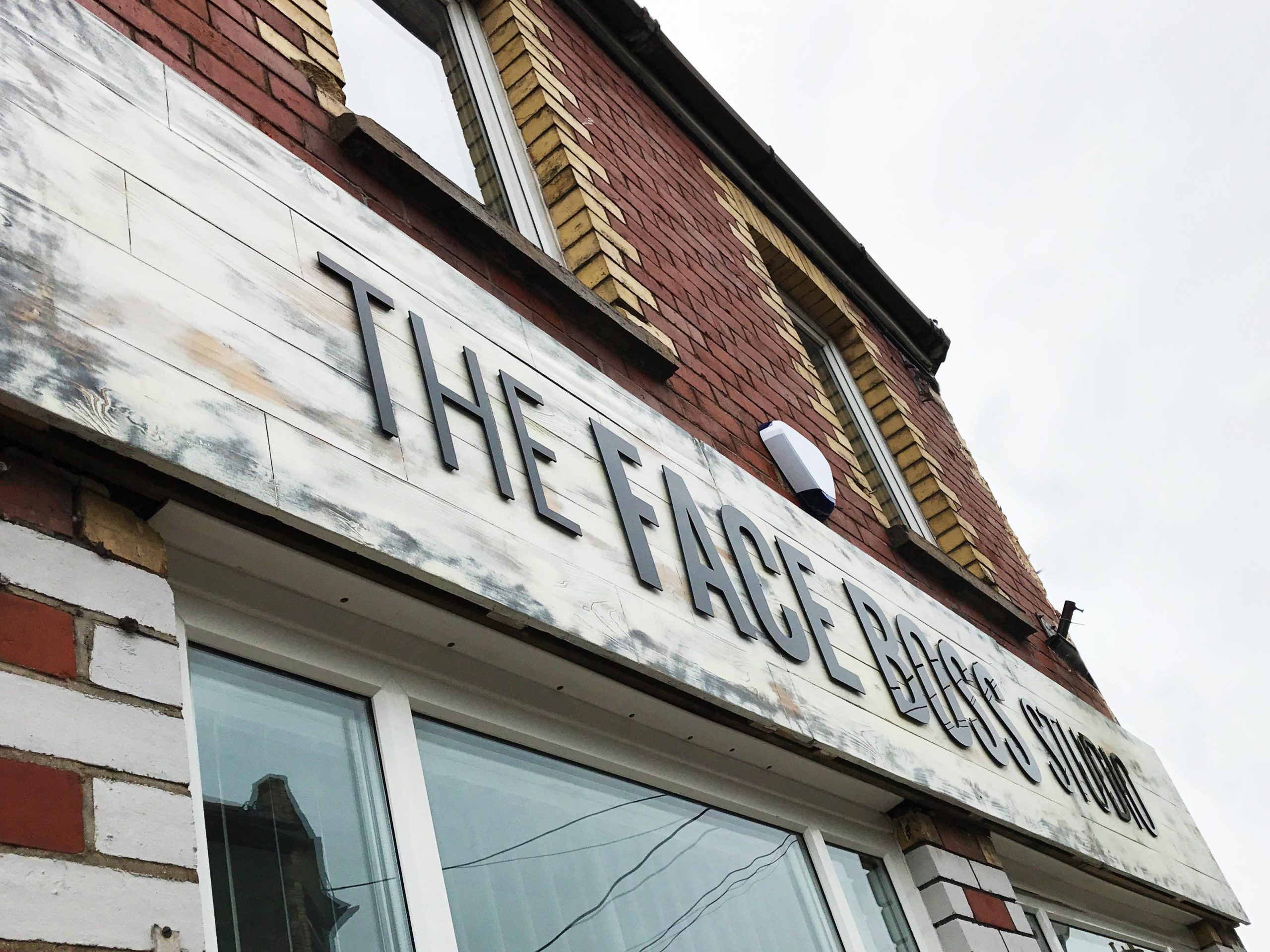 Blitz Media Signs Fascia Wooden Sign Stand Off Acrylic Letters The Face Boss Studio