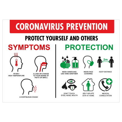 BLZ-COV19-15 Coronavirus Symptoms & Prevention Poster