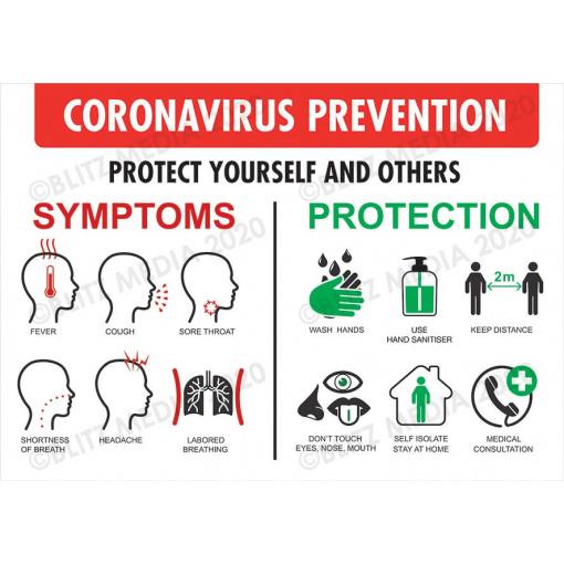 Blitz Media Coronavirus Signs COVID SYMPTOMS & PROTECT