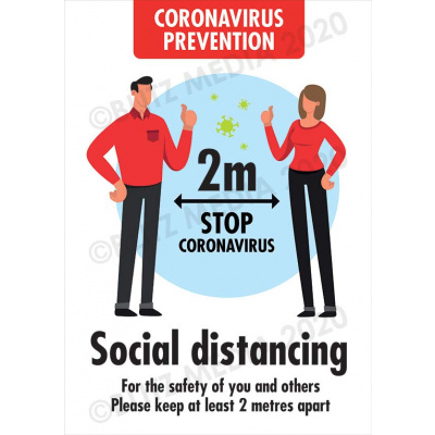 Blitz Media Coronavirus Signs Coronavirus-Prevention Social Distancing