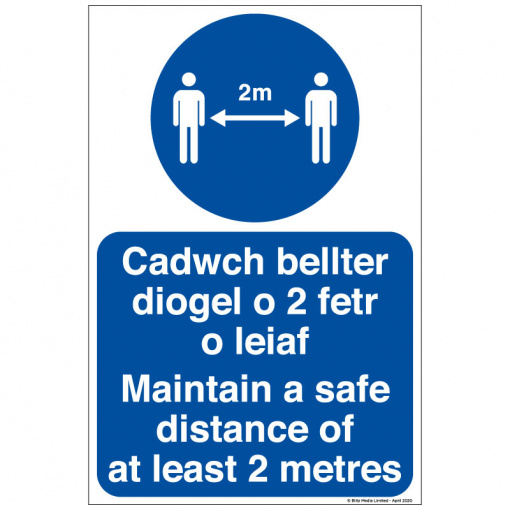 BLZ-COV19-17 Maintain a safe distance of atleast 2 metres welsh