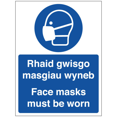 BLZ-COV19-45 Face Masks Must Be Worn Welsh