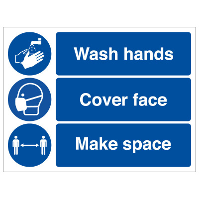 BLZ-COV19-52 Wash hands cover face make space