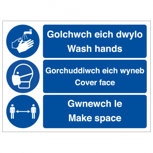 BLZ-COV19-53 Wash hands cover face make space Welsh